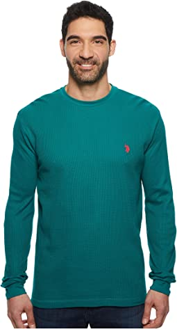 Long Sleeve Crew Neck Solid Thermal Shirt
