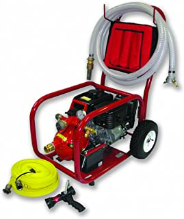 Home Firefighting HF-S14FC-150A-BK Pool Fire Pump Cart System with 1.5-Inch Fire Hose and 10-30 gpm Fog/Stream Pistol Grip Nozzle