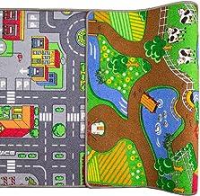 Children's Double Sided Play Village Farm Mat Town City Car Roads Rug