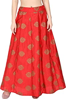 NATTY INDIA Red Color Gold Rubber Printed Ankle Length Women's Silk Skirt Party Size M-7XL