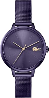 ساعة من لاكوست للنساء بمينا ازرق وسوار من الستيل البني مطلي طلاء ايوني