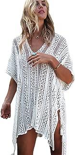 Boldgal Women's Swimwear Crochet Knitted Tassel Beach Dress (White)