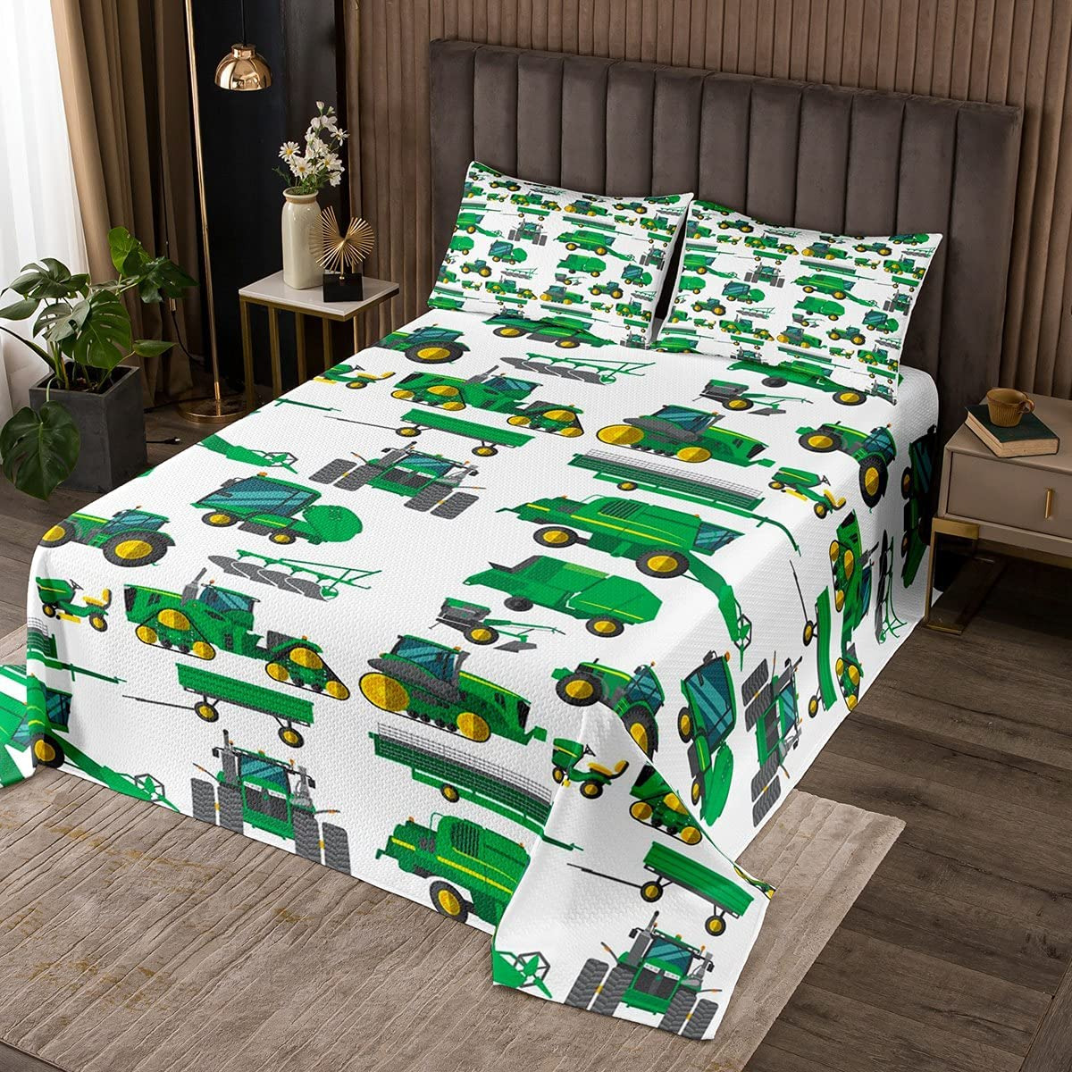 Boys Be super welcome Cartoon Car Bedspread Constructi Quilted Twin Cheap Excavator