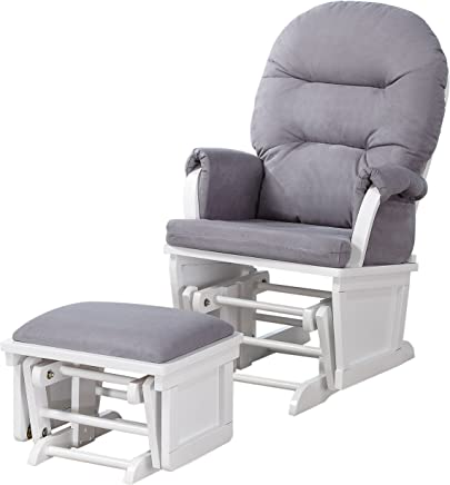 Lennox Contemporary Style Glider Chair and Ottoman Combo,  White with Grey