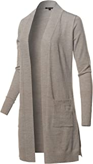 Made by Emma Women's Solid Stretch Long-line Long Sleeve Open Front Knit Cardigan