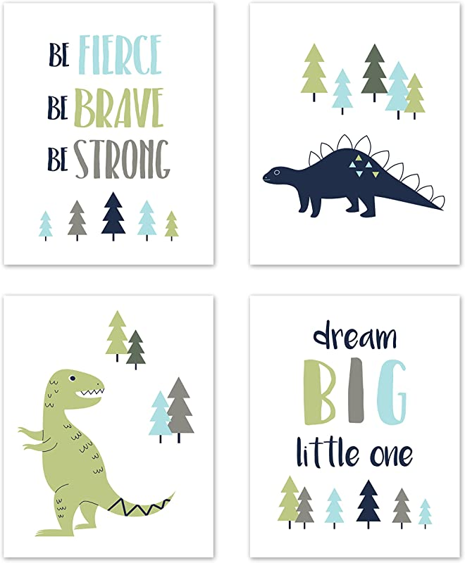 Sweet Jojo Designs Blue And Green Dream Big Dino Wall Art Prints Room Decor For Baby Nursery And Kids For Mod Dinosaur Collection Set Of 4