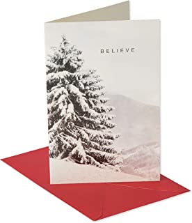 American Greetings 6027109 Deluxe Tree Photo Christmas Boxed Cards and Red Envelopes, 14-Count,