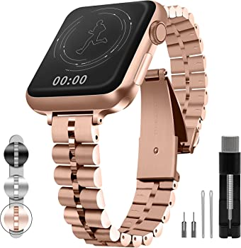 Qundaxi 38mm 40mm 42mm 44mm Metal Stainless Apple Watch Band