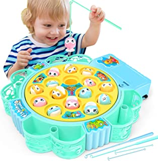 NARRIO Rotating Fishing Game Toys with Music for Kids-Funny Gifts for Birthday & Easter