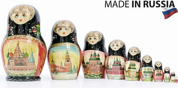 Russian Nesting Doll Moscow Memories Hand Painted In Russia Traditional Matryoshka Babushka