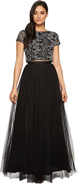Cap Sleeve Corded Lace and Mesh Two-Piece Gown