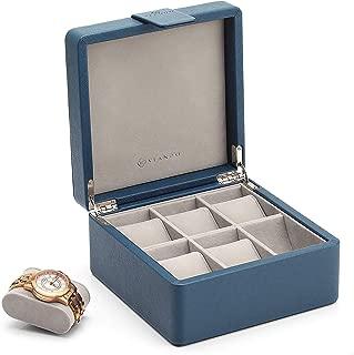 Vlando Wooden Watch Storage Box Organizer, Men's Gift- Business Blue