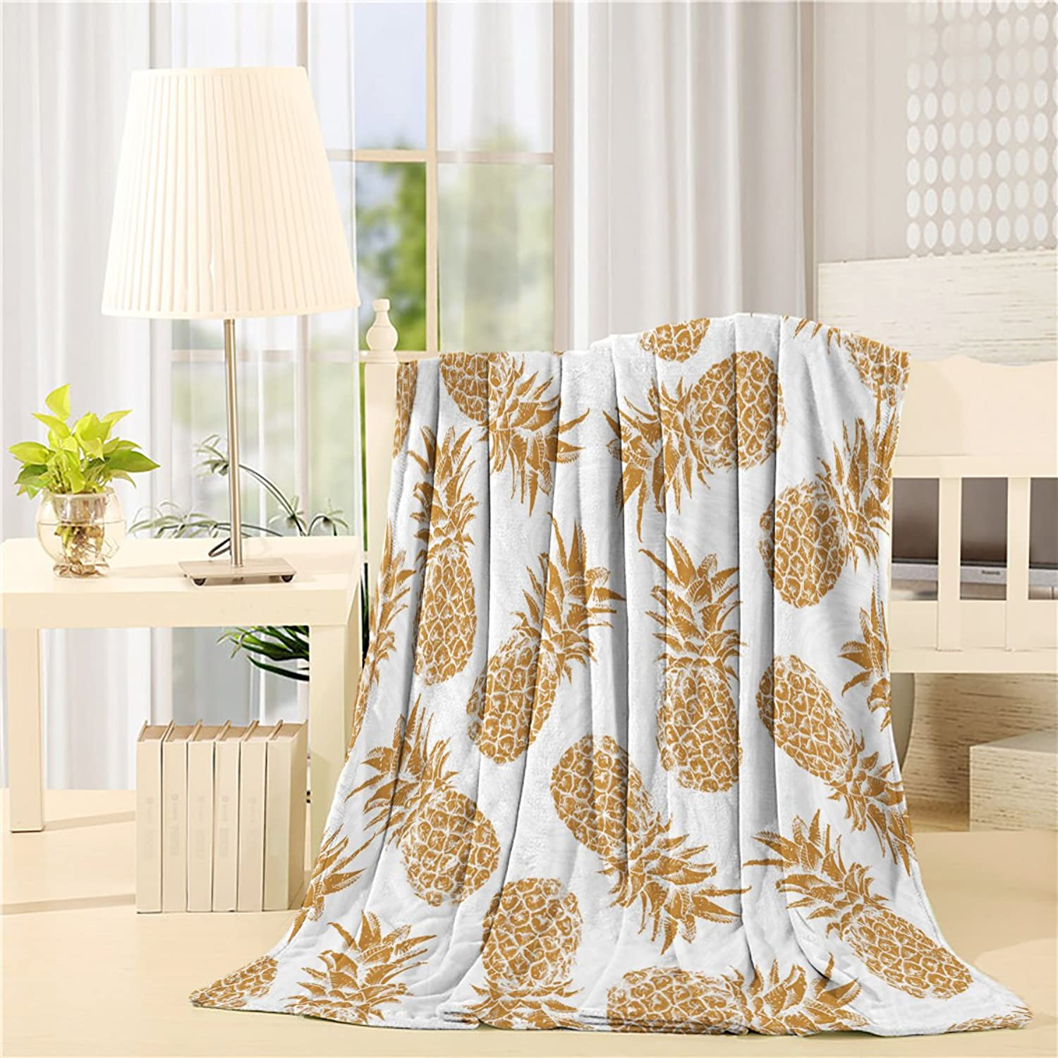 SUN-Shine Luxury Adult Throw Blanket Warm Pineapple Print Soft Toned with Concept Image Multicolor Super Soft Blanket 60x80In By