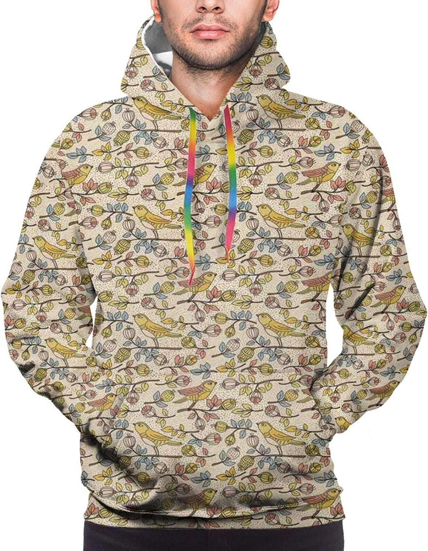 Men's Hoodies Sweatshirts,Doodle Style Composition of Flowers Blossoming Garden Art Design Creative Spring