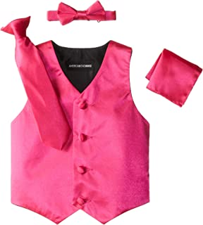 American Exchange Little Boys's' Satin 4 Piece Vest Set