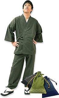 【日本製】 経てスラブ作務衣 (たてすらぶさむえ) 【IKISUGATA】 和粋庵特製巾着付き