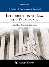 Introduction to Law for Paralegals: A Critical Thinking Approach (Aspen Paralegal Series) PDF