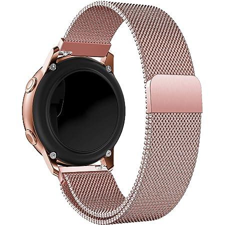Correa de reloj de oro rosa, correas de reloj de repuesto tejidas de malla de acero inoxidable Alldo de 20 mm para mujer, correa de pulsera de metal