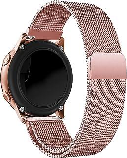 Correa de reloj de oro rosa, correas de reloj de repuesto tejidas de malla de acero inoxidable Alldo de 20 mm para mujer, ...