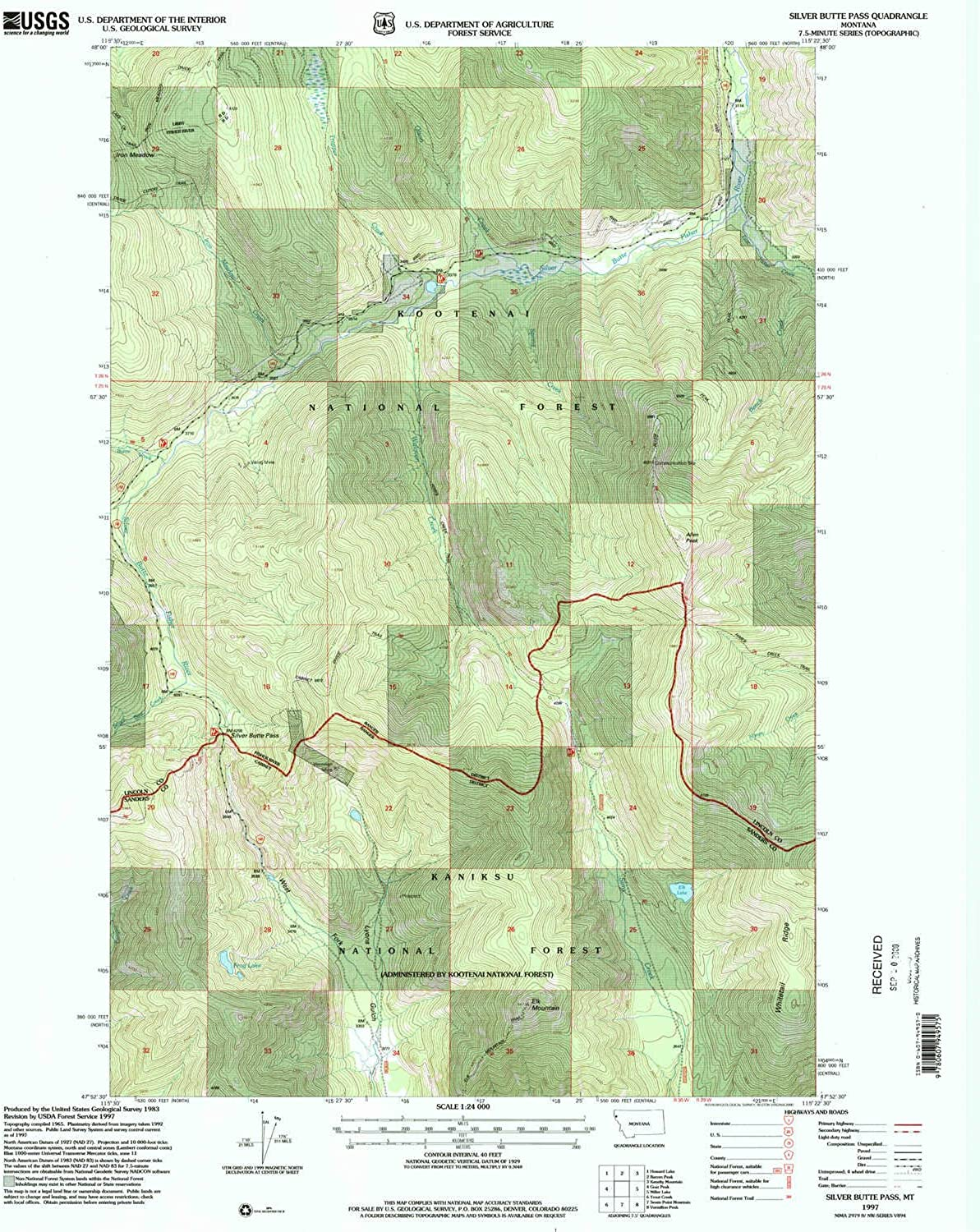 Silver Butte Pass MT topo map, 1 24000 Scale, 7.5 X 7.5 Minute, Historical, 1997, Updated 2000, 27 x 22.1 in