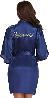 Women's Satin Robe Short Kimono for Bride & Bridesmaid Wedding Party Robes with Gold Glitter or Rhinestones