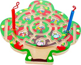 Toys of Wood Oxford TOWO Wooden Magnetic Labyrinth for Children Number Puzzle Math Puzzle - Magnetic Maze Wooden Puzzle for Children 3 Years Old