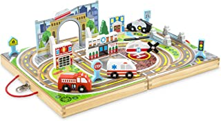Melissa & Doug 18-Piece Wooden Take-Along Tabletop Town, 4 Rescue Vehicles, Play Pieces, Bridge