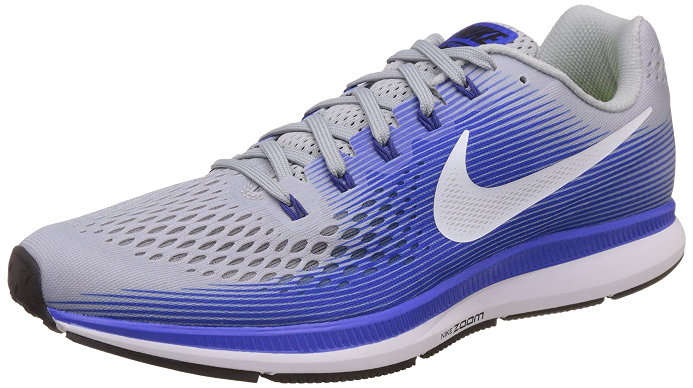 Nike Men's Air Zoom Pegasus 34 Running Shoes-Wolf Grey/White/Racer Blue-12