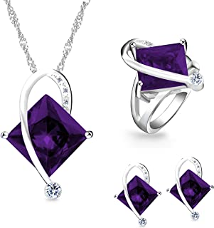 Uloveido Charm Created Topaz Big Square Crystal Necklace Matching Stud Earrings Rings Jewelry Set T295