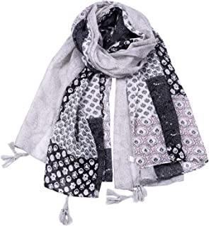 Scarf Balinese Yarn Four Seasons Lattice Bohemian Ethnic Style Cashew Print Shawl Multifunctional air-Conditioning Measures Sunscreen 5 Colors for Ladies Selection` TuanTuan (Color : Gray)