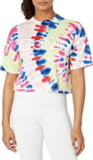 CALVIN KLEIN Performance Women's Tie Dye Short Sleeve Crop Mock Neck Tee