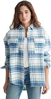 Lucky Brand Women's Long Sleeve Button Up Plaid Twill Boyfriend Shirt
