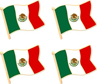 Mexico Mexican Flag Lapel Pin Decorations (4 Pack)