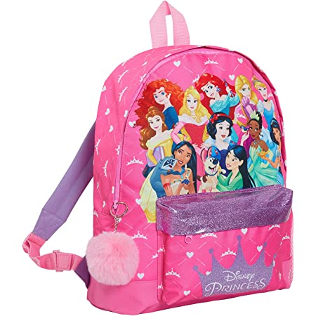 Disney Princess Backpack Featuring All The Official Princesses Girls Large School Rucksack Glitter Lunch Bag
