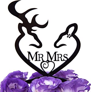 LOVENJOY with Gift Box Deer Mr and Mrs Monogram Wedding Engagement Cake Decoration Topper Black (4.3-inch)
