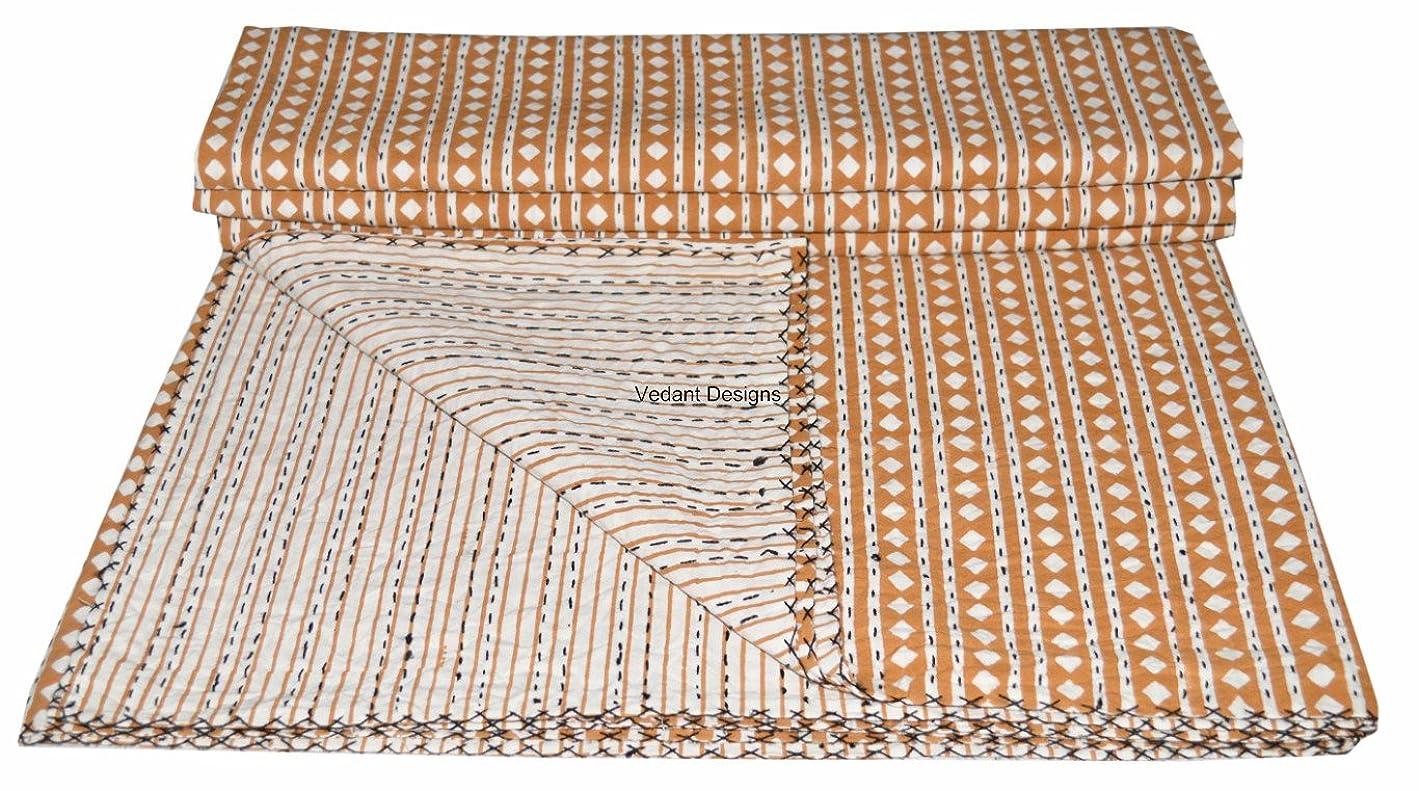 しわ手数料Indian QueenコットンKanthaキルトベッドスプレッドThrow BlanketクイーンキルトThrow Blanket