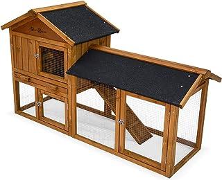 Alice's Garden Clapier en Bois HOTOT pour Lapin et Autres rongeurs. 4 Lapins. Cage à Lapin avec enclos. Espace intérieur e...