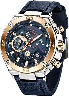BENYAR Men's Chronograph, Leather Strap, Business Casual Men's Waterproof Watch