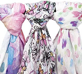 Muslin Swaddle Blanket Set 'Flutter' Large 47x47 inch | Super Soft Bamboo Blankets | Flowers, Butterflies, and Florals | 3 Pack Baby Shower Gift Bundle of Swaddles for Girls | 10,000 Wash Warranty