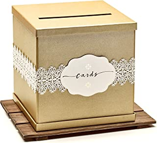 Hayley Cherie - Gold Gift Card Box with White Lace and Cards Label - Gold Textured Finish - Large Size 10