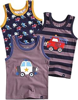 Vaenait Baby 86-122 Boy's / Children's Robot Rocket Motif Vests and Underpants Pack of 3