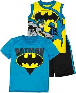 DC Comics Conjunto Deportivo de Batman con Pantalón Corto, Camiseta sin Mangas y Camiseta de Manga Corta para Niños, Amari...