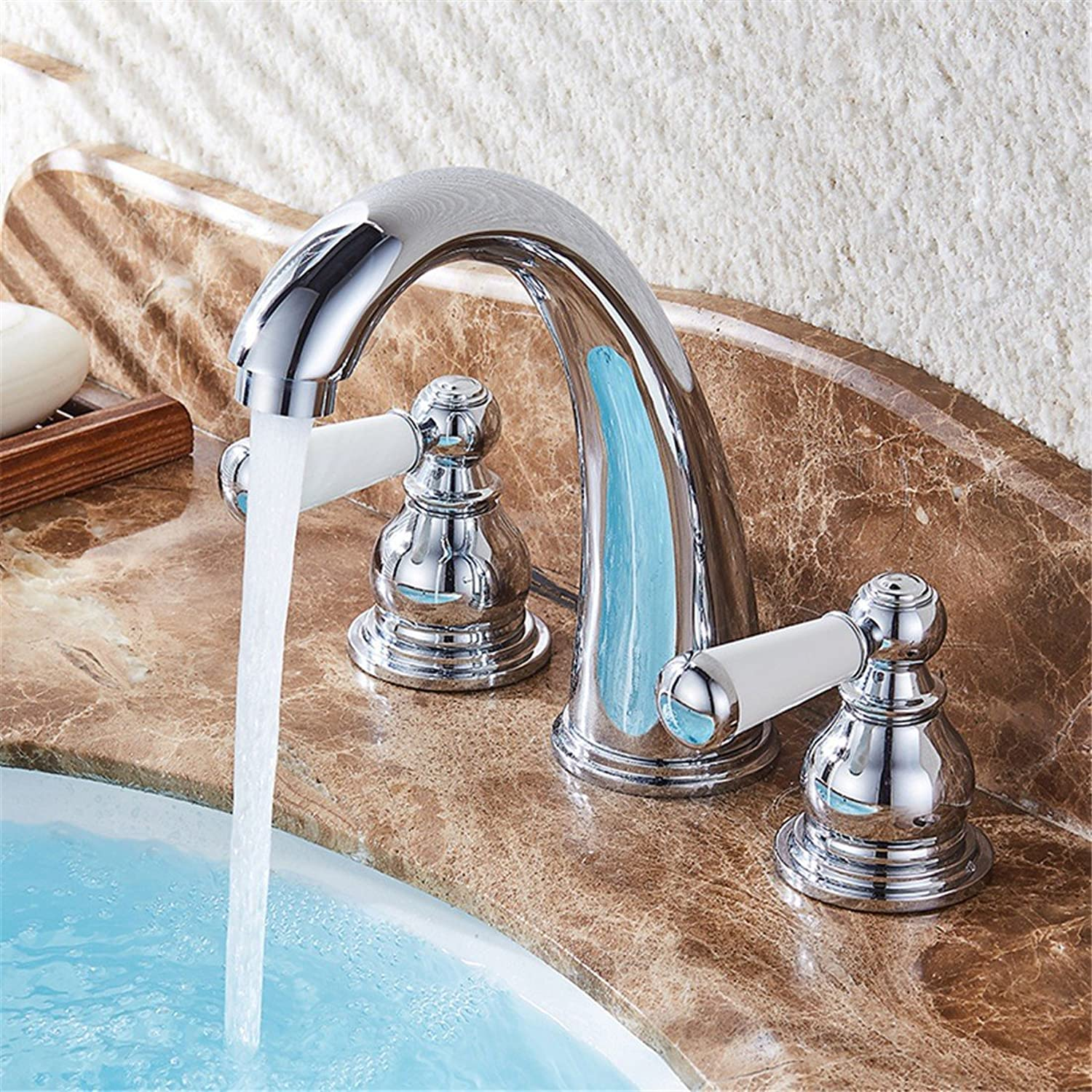 LHbox Basin Mixer Tap Bathroom Sink Faucet The lion-lam continental basin faucet hot and cold full copper washbasin vanity bench lowered basin faucet three hole