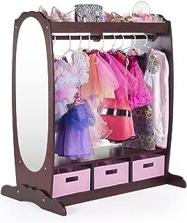 Guidecraft Dress Up Storage – Espresso: Kids' Costume Dresser, Armoire with Rack, Toy Bins and Full Mirror - Toddlers Playroom Organizer, Children Room Furniture