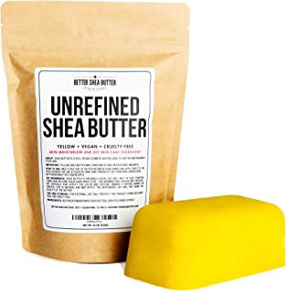Yellow Shea Butter - Raw, 100% Pure, Unrefined, Fresh - Moisturizing, Ideal for Dry and Cracked Skin and Eczema - Use on Body, Face and Hair - 1 LB by Better Shea Butter