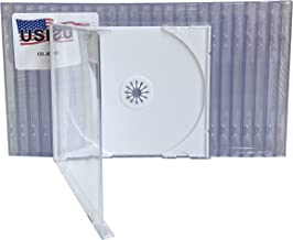 USDISC CD Jewel Cases Standard 10.4mm, Single 1 Disc, White, Pack of 10