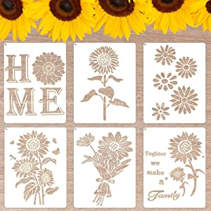 YEAJON 6 Pieces Sunflower Stencils, Butterfly Flower Drawing Stencil Reusable Crafts for Painting on Wood, Wall, Home Decor, Pillows(11 x 8.3 inch)