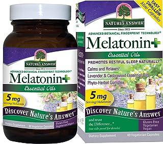 Nature's Answer Melatonin+, 60 Count Capsules Promotes Restful Sleep   Melatonin plus Essential oils Lavender Calms and Re...