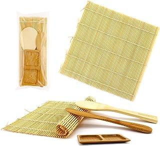 BambooMN Deluxe Sushi Making Kit 2x Natural Rolling Mats, 1x Rice Paddle, 1x Spreader, 1x Sauce Dish | 100% Bamboo Mats an...