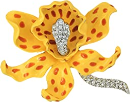 Kenneth Jay Lane - Yellow/Brown Spots Orchid Pin
